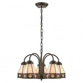 Fargo 5 Light Ceiling Downlighter Pendant in Tiffany Design