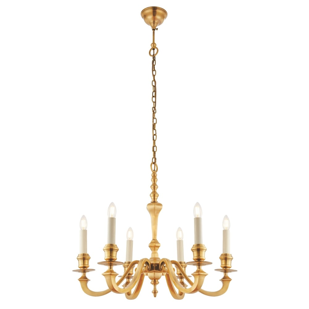 Interiors 1900 fenbridge 6 light multi arm ceiling chandelier in fenbridge 6 light multi arm ceiling chandelier in solid brass finish aloadofball Images