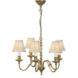 Fitzroy 5 Light Solid Brass Ceiling Pendant In A Mellow Brass Finish With Pleated Beige Shade