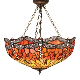 Flame Dragonfly Medium Inverted 3 Light Ceiling Pendant with Classic Tiffany Design