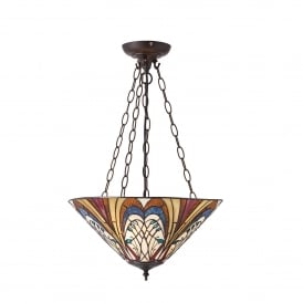 Hector 3 Light Tiffany Style Ceiling Pendant with Art Nouveau Design