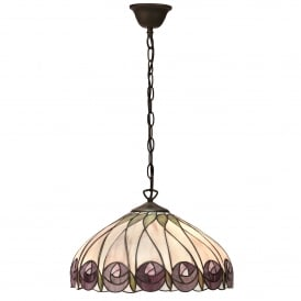Hutchinson Single Light Ceiling Pendant In Bronze Finish With Tiffany Style Glass Shade