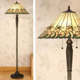 Jamelia 2 Light Floor Lamp with a Dark Bronze Base and Floral Tiffany Design