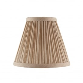 Kemp 6 Inch Shade With Pleated Beige Faux Silk Fabric