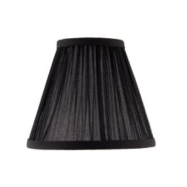 Kemp 6 Inch Shade With Pleated Black Faux Silk Fabric