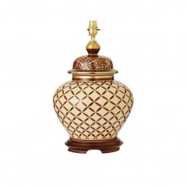 Kutani Cross Stitch Single Light Ceramic Table Lamp Base Only