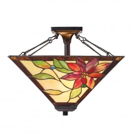Lelani 2 Light Medium Tiffany Glass Semi Flush Ceiling Fitting with a Dark Bronze Finish
