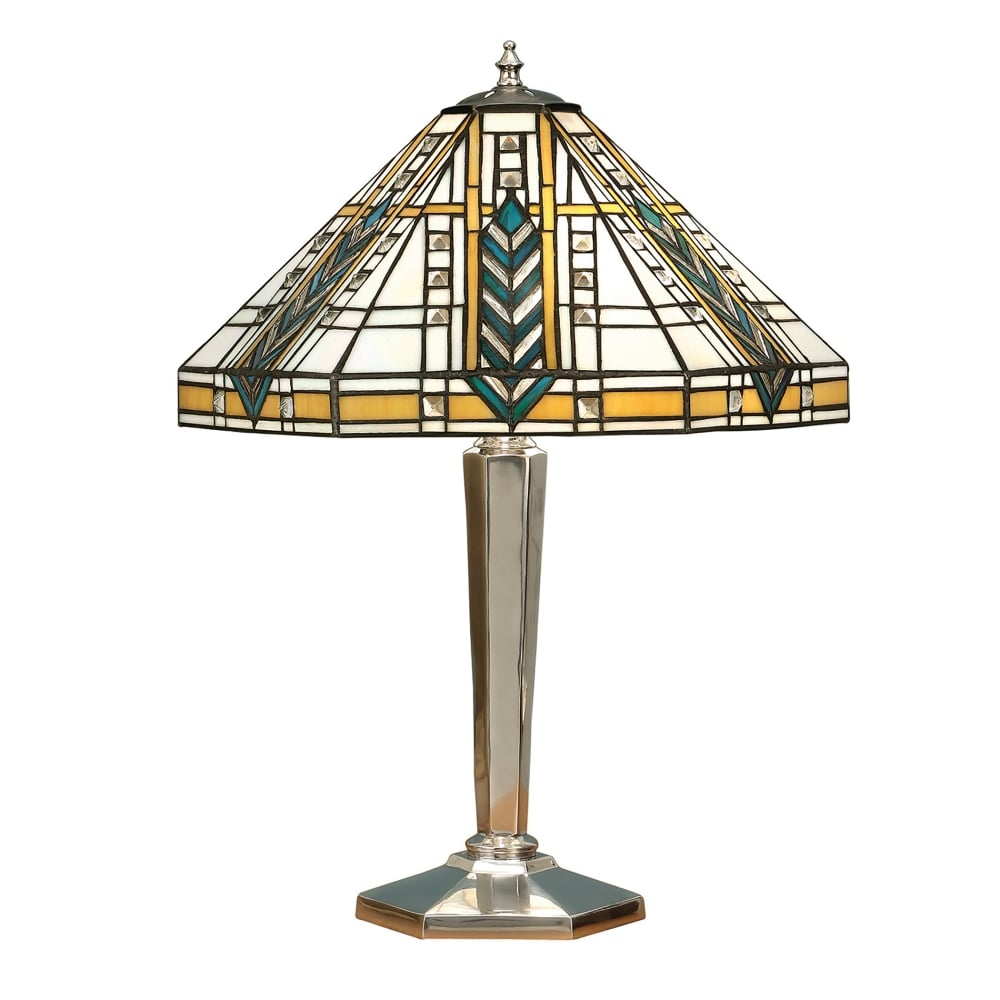 1900 lloyd 2 light tiffany style table lamp with chrome effect finish. Black Bedroom Furniture Sets. Home Design Ideas