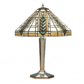 Lloyd 2 Light Tiffany Style Table Lamp with Chrome Effect Finish