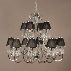 Oksana 12 Light Chandelier in Polished Nickel with Black Fabric Shades