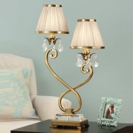 Oksana 2 Light Antique Brass Table Lamp with Beige Fabric Shades