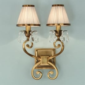Oksana 2 Light Wall Fixture in Antique Brass with Beige Shades