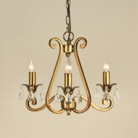 Oksana 3 Light Antique Brass Finished Chandelier with Crystal Detail