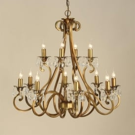 Oksana Large 12 Light Brass Finished Chandelier with Crystal Detail