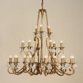 Oksana XL 21 Light Brass Finished Chandelier with Crystal Detail