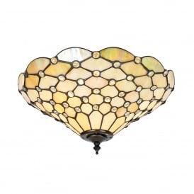 Pearl Classic Tiffany 2 Light Flush Ceiling Fitting with a Dark Bronze Finish