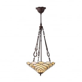 Pearl Classic Tiffany 3 Light Ceiling Pendant with a Dark Bronze Finish