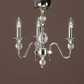 Polina 3 Light Dual Mount Chandelier in a Polished Nickel Finish