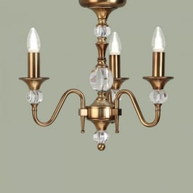 Polina 3 Light Dual Mount Chandelier in Brass Finish with Crystal Detail