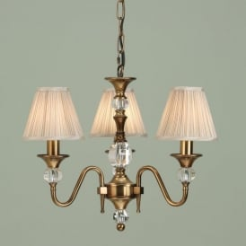 Polina 3 Light Dual Mount Chandelier in Brass Finish with Pleated Beige Shades
