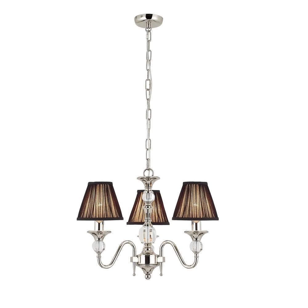 Interiors 1900 polina 3 light polished nickel chandelier with black polina 3 light polished nickel chandelier with black shades aloadofball Choice Image