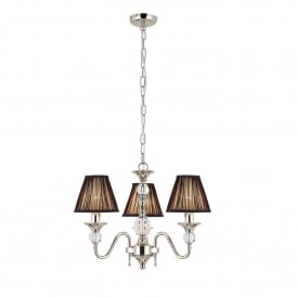 Polina 3 Light Polished Nickel Chandelier with Black Shades