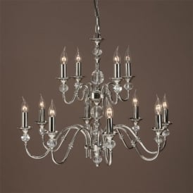 Polina Large 12 Light Chandelier in a Polished Nickel Finish