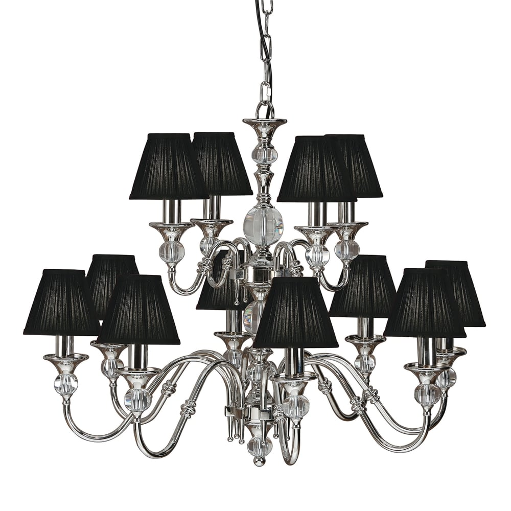 Interiors 1900 polina large 12 light polished nickel chandelier with polina large 12 light polished nickel chandelier with black shades arubaitofo Choice Image