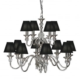 Polina Large 12 Light Polished Nickel Chandelier with Black Shades
