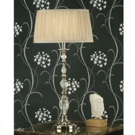 Polina Large Single Light Table Lamp in Crystal and Nickel with Beige Shade