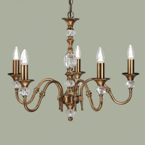 Interiors 1900 Polina Medium 5 Light Dual Mount Chandelier