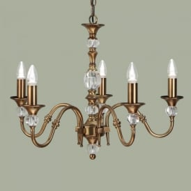 Polina Medium 5 Light Dual Mount Chandelier in Brass Finish with Crystal Detail