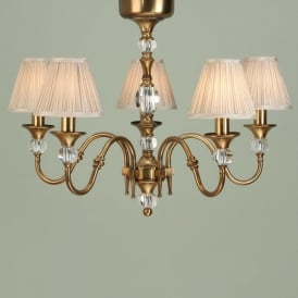 Polina Medium 5 Light Dual Mount Chandelier in Brass with Beige Shades