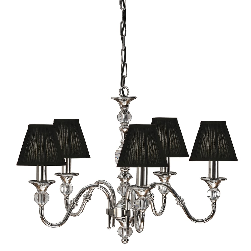 Interiors 1900 polina medium 5 light polished nickel chandelier with polina medium 5 light polished nickel chandelier with black shades arubaitofo Choice Image