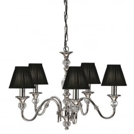 Polina Medium 5 Light Polished Nickel Chandelier with Black Shades