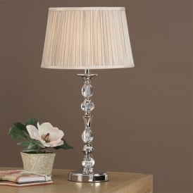 Polina Single Light Crystal and Polished Nickel Table Lamp with a Beige Shade