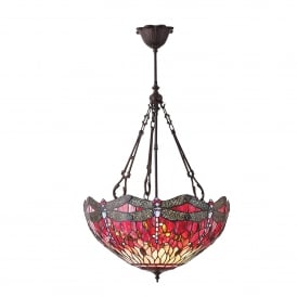 Red Dragonfly 3 Large Light Inverted Tiffany Ceiling Pendant with Dark Bronze Finish