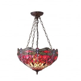 Red Dragonfly 3 Medium Light Inverted Tiffany Ceiling Pendant with Dark Bronze Finish
