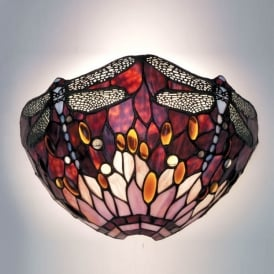 Red Dragonfly Single Light Wall Fitting with Classic Tiffany Design