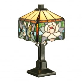 Rochette Single Light Tiffany Mini Table Lamp with a Dark Bronze Finish