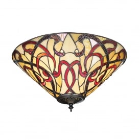 Ruban 2 Light Flush Ceiling Fitting in Art Nouveau Tiffany Design