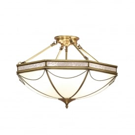 Russell 8 Light Semi Flush Ceiling Fitting In Antique Brass Finish With Frosted Glass Shade