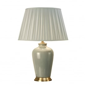 Ryhall Single Light Large Ceramic Table Lamp Base Only In Duck Egg Blue And Brass Finish