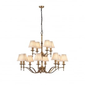 Stanford 12 Light Ceiling Fitting In Antique Brass Finish With Beige Pleated Shades