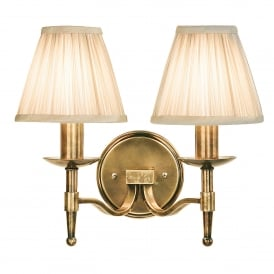 Stanford 2 Light Wall Fitting In Antique Brass Finish With Beige Pleated Shades