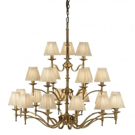 Stanford 21 Light Ceiling Fitting In Antique Brass Finish With Beige Pleated Shades