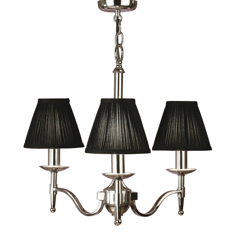 Stanford 3 light ceiling fitting in polished nickel finish with black pleated shades