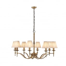 Stanford 8 Light Ceiling Fitting In Antique Brass Finish With Beige Pleated Shades