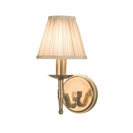 Stanford Single Light Wall Fitting In Antique Brass Finish With Beige Pleated Shades