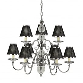 Tilburg Large 9 Light Chandelier in Polished Nickel Finish with Black Pleated Shades